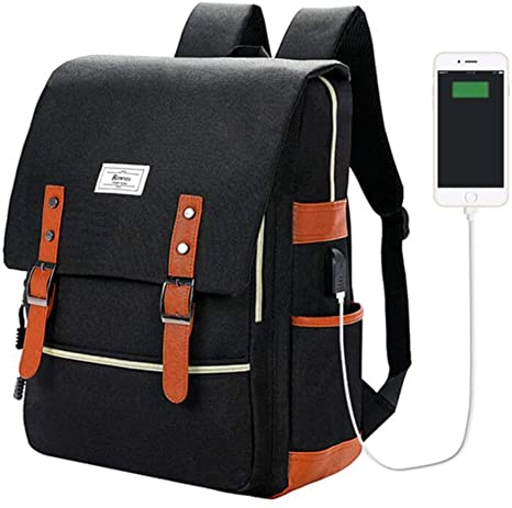 Amazon.com: Ronyes Vintage Laptop Backpack College School Bag Bookbags for  Women Men 15.6'' Laptop Casual Rucksack Water Resistant School Backpack  Daypacks with USB Charging Port (Black): Computers  Accessories